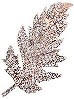 FENGJI Elegant Full Rhinestone Leaf Design Wedding Bridal Christmas Crystal Pins Brooches for Women Girls Rose Gold