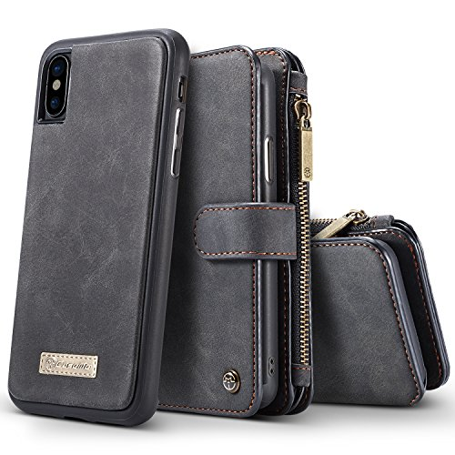iPhone X Case, BELK Detachable 2 in 1 Magnetic Zipper Wallet [Large Capacity] Flip Case with 14 Card Slots and Removable Slim TPU Back Cover for Apple iPhone X