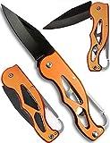 Outdoor saxx Compatto moschettone pieghevole Outdoor coltello–Lama (nera, segnale colore arancione, facilmente trovare) Camping, picknik, escursioni, Outdoor, lama inox