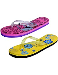 IndiStar Womens Rubber Printed Hawaii Slipper House Flip Flop(Pack Of 2) - B079TYVCV6