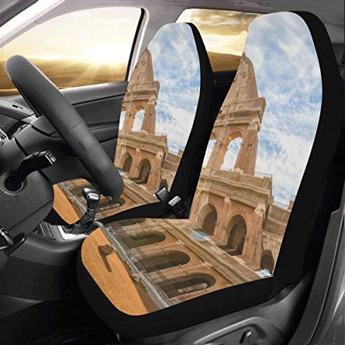 JOCHUAN XL Copriauto Grande Famoso Colosseo A Roma Italia Universal Fit Auto Coprisedili Auto Protector per Auto Camion SUV Veicoli Donne Lady (2 Anteriore) Coprisedili Auto per Auto