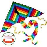 Bunter Regenbogen-Drachen – Winddrachen, Flugdrachen & Kinderdrachen Zum Drachen Fliegen & Steigen – Perfekter Drachenflieger für Kinder und Erwachsene – Riesiger Leichter und Stabiler Drachenflug