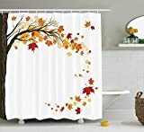 GONIESA Fall Decorations Shower Curtain, Leaf Group Motion in Mother Earth Transition from Summer to Winter Decor, Fabric Bathroom Decor Set with Hooks, 60W X 72L Inches Extra Long, Brown Orange