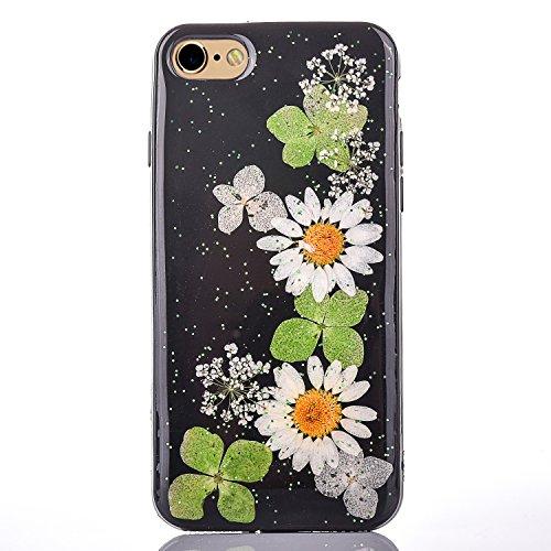 "iPhone 6sPlus Handyhülle, CLTPY iPhone 6Plus Transparent Klare 3D Motiv Fall, [Ultra Hybrid] Echte Getrocknete Blumen Series Etui, Dünne Stoßfest Gummi Case für 5.5"" Apple iPhone 6Plus/6sPlus (Nicht i Floral 4"