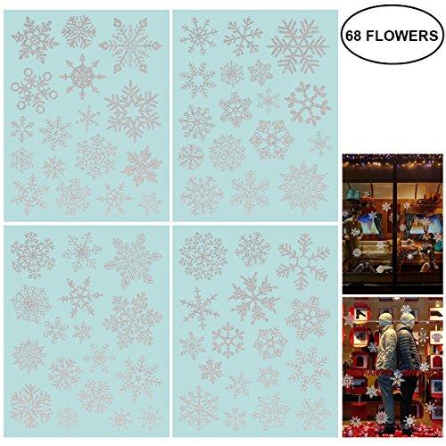 fensterbilder schneeflocken 85 Fensterdeko Schneeflocken NICEXMAS Fensterbilder Schneeflocken(weiss) (68PCS)