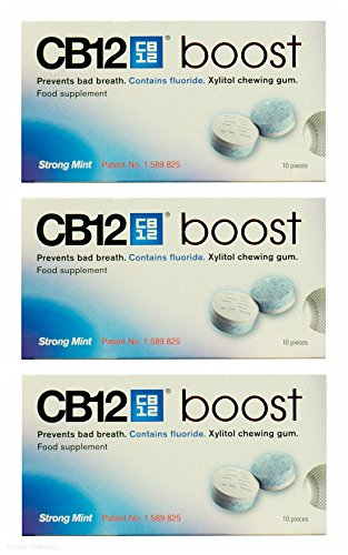 acquisto multiplo 3 x CB12 BOOST SENZA ZUCCHERO resistente NUOVI Chewing Gum 10 pezzi