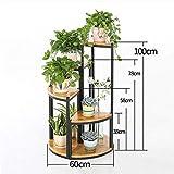 Willsego Home Office Möbel Eisen und Massivholz Multilayer Floor Stand/Blumentopf Regal für Balkon Wohnzimmer Treppen Ecke Regal - Schränke, Racks & Regale (Größe: 30 * 30 * 100cm) (Größe : 4 Sets)