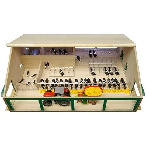 Kids Globe 610495 - Establo de vacas de madera en miniatura escala 1:32, 75 x 60 x 27 cm, compatible con modelos Siku) [importado de Alemania]