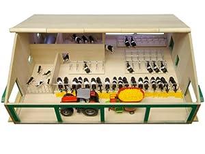 Kids Globe 610495 - Establo de vacas de madera en miniatura escala 1:32, 75 x 60 x 27 cm, compatible con modelos Siku) importado de Alemania