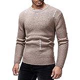 Legogo Herren Runden Kragen Langärmelige Herbst und Winter Mode Sweatershirt(M,braun)