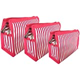 SNDIA 3 Set Toiletry Bag Portable Multifunction Beauty Travel Cosmetic Bag, Pen/Pencil Case, Makeup Pouch, Travel & Undergarments Organizer – Pink