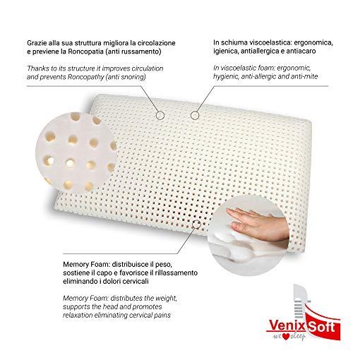 Venixsoft cuscino per letto in memory foam, 70 x 40 x 12 cm