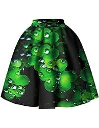 Mujeres Impreso Cintura alta Cintura elástica Falda de burbuja plisada Trébol de cuatro hojas vintage Longitud