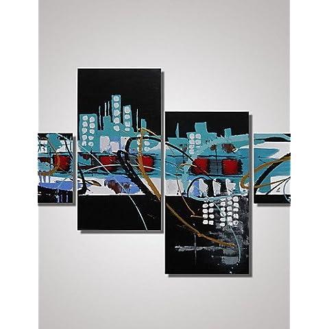 OFLADYH ® 4 paneles de arte contemporáneo enmarcado pinturas abstractas de la lona para la decoración de las paredes listas para colgar , with frame