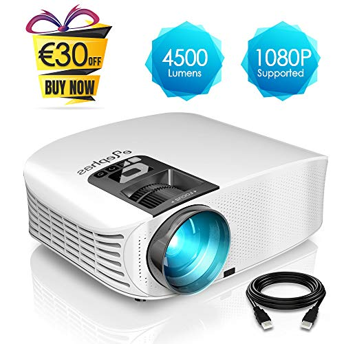 Proyector HD, ELEPHAS 1080P LCD Video proyector Full HD con 4500 lúmenes,...