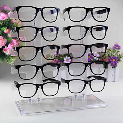 Gugutogo 2 Zeile 10 Paare Sonnenbrille-Glas-Zahnstangen-Halter-Rahmen-Ausstellungsstand Transparent
