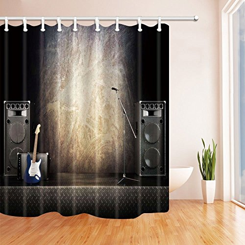 Gohebe Stage Decor Shower Curtains By Music Show Instrument Guitar