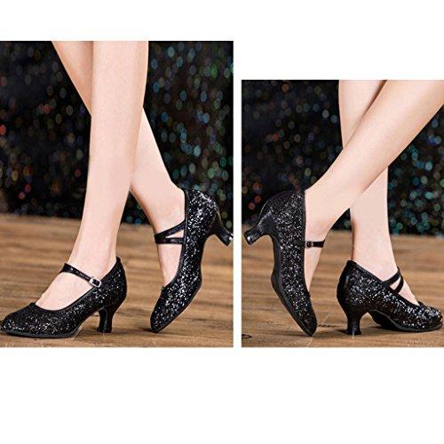 Byjia Frauen Latin Dance High Heel Sandalen Schuhe Sequins Leder Gürtelschnalle Ballroom Bankett Black