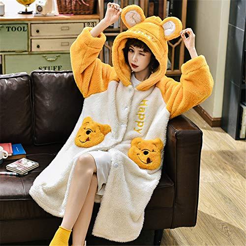 Damen-Schlafanzug mit weicher Kapuze, Langärmliges Flanell-Nachthemd, Dicke, lose Bademäntel, Süßer und lebhafter Haushaltsservice, A8 XXL