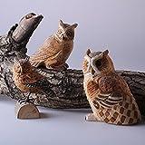 Powzz ornament Massivholz Hand-Made Geschnitzt Tier Eulen Ornamente, Holzschnitzerei Handwerk, Weiche Ornamente, 11 * 8 cm * 3