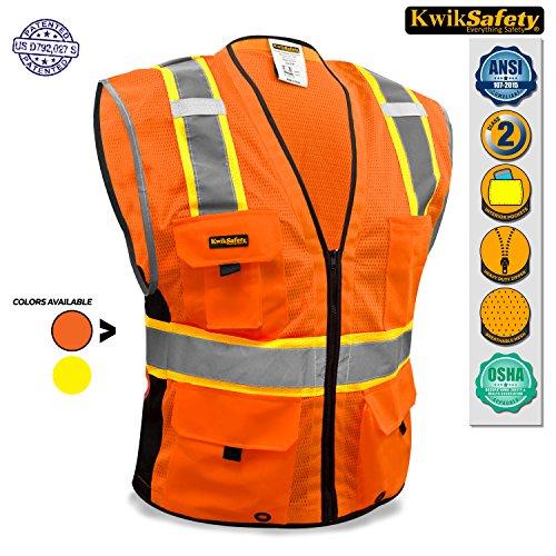KwikSafety Orange Class 2Deluxe Sicherheitsweste | strapatzierfähige reflektierende Sicherheitsweste mit Reisverschluss und Taschen für Herren und Damen | Motorrad-, Polizei-, Radfahre-, Konstruktions-Arbeitsaustattung, orange (Green Stripe Hunter)