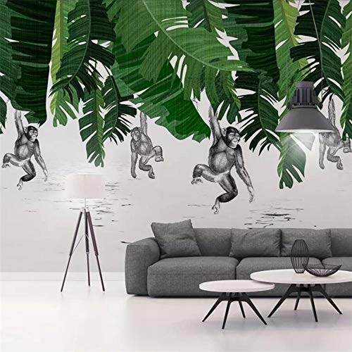 Bananenblatt-Affenbetriebshintergrundwand Der Nordischen Modernen Unbedeutenden Großen Wandgemälde Grünes Tapeten-Wandgemälde-250Cmx175Cm