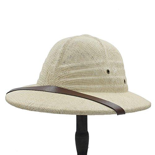 Ruanyi Neuheit Toquilla Stroh Helm Pith Sonnenhüte Vietnam Krieg Armee Hut Papa Boater Eimer Hüte Safari Dschungel Bergmann Cap 56-59CMn für Männer