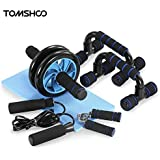 5-In-1 Hand Gripper Hand Grips AB Wheel Roller Jump Rope Push-Up Bar Knee Pad Abdominal Workout Gym Fitness Equipment