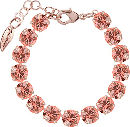 Romantische Rose Peach (Rosi Armband medium 9mm Chaton rosé vergoldet, Farbe:rose peach)