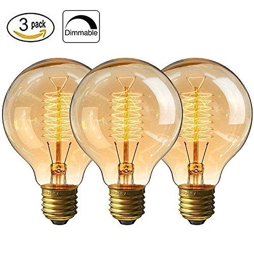 CMYK® Edison Vintage Lampe Big-Globe (60W, E27, 220-240V, Handgewickelt) Ideal für Nostalgie und Retro Beleuchtung, 3 Stück