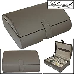 Leathersmith of London® LIMITED EDITION Genuine Mink Bonded Leather 10 Watch Storage Case Organiser Box with Grey Interior
