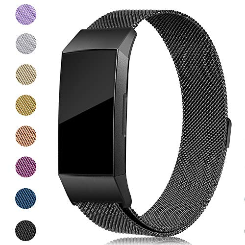 Onedream Kompatibel für Fitbit Charge 3 Armband Damen Herren Metall Edelstahl Ersatzarmband (#Schwarz, Small)
