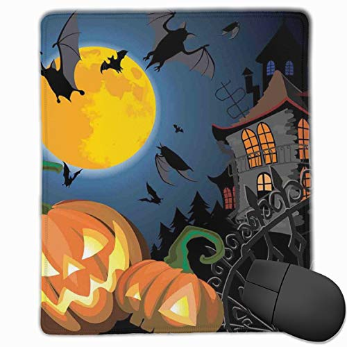 Mouse Mat Stitched Edges, Gothic Halloween Haunted House Party Theme Design Trick Or Treat Motifs Print,Gaming Mouse Pad Non-Slip Rubber Base