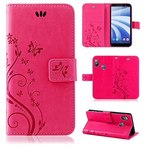 betterfon | Flower Case Handytasche Schutzhülle Blumen Klapptasche Handyhülle Handy Schale für HTC U12 Life Pink