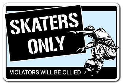 Neuheit Geschenk Skater nur Schild Skateboard Rollen Trucks Deck Geschenk Skating Skaten Rampe Yard Dekorative Aluminium Metall Türschild für Schlafzimmer, Büros (Warnung Skateboard Decks)