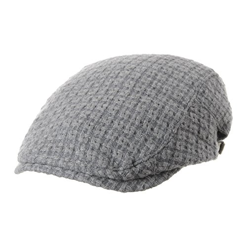 WITHMOONS Béret Casquette Chapeau Flat Cap Wool Knitted Check Pattern Newsboy Ivy Hat SL3526 Gris