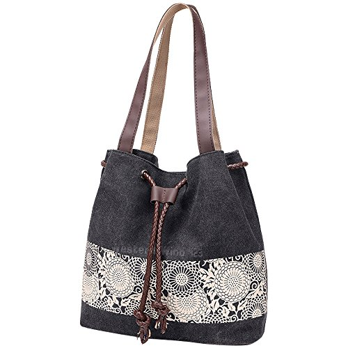 Wocharm Ladies Cotton Canvas Drawstring Shoulder Bag Totes Handbag Summer Beach Bag Women Hobo Shoulder Bag Bohemian Style Messenger Bag (Black)