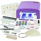Kit de manucure + nail art professionnel complet - Lampe UV 36W Violette (4 ampoules), Gels UV (3) et tous les accessoires pour les ongles - Format XXXL