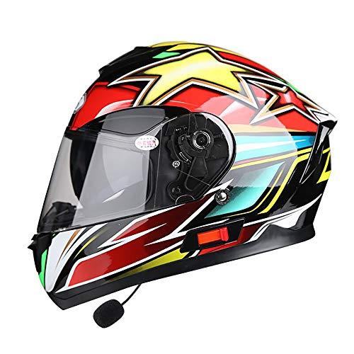 SRUN Casco Moto Casco Moto Integrale Unisex Casco da Moto con Doppio visore a Doppio Giro per Casco da Crossover per Bici da Corsa,XL