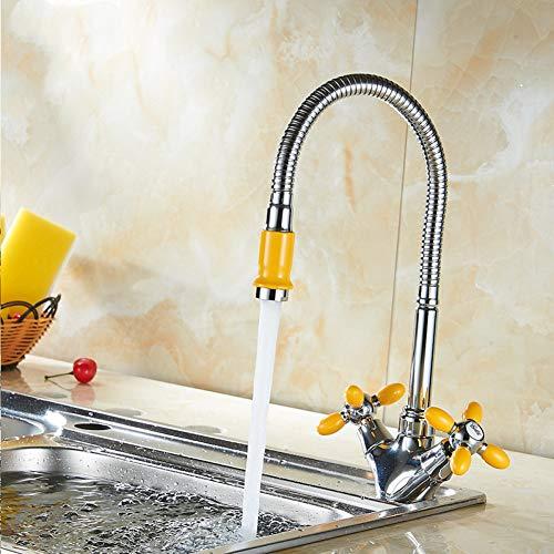 Waschtischarmaturen YHSGY Gelb Biegbar Kalt- Und Warmwasserhahn Badarmaturen Waschtisch Waschbecken Mischbatterie Einfache Kupferarmaturen (Waschbecken Gelb)