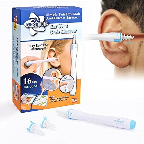 MEXITOP Kit Limpiador para Oídos, Limpiador de Cera de Oídos con Punta Suave en Espiral y 16 Puntas Remplazables de Silicona para la Higiene de Toda la Familia + Tapones de para Oídos de Bonificación (Azul)