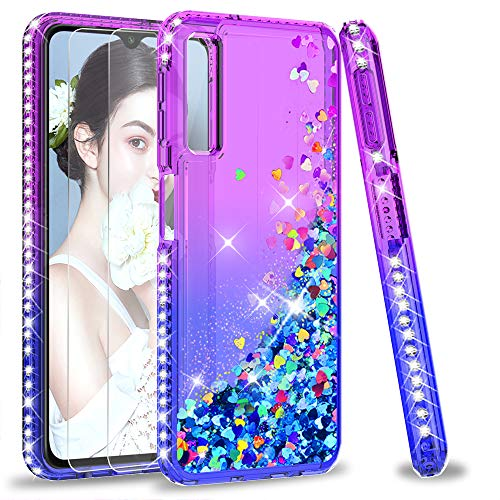 LeYi Hülle Galaxy A7 2018 Glitzer Handyhülle mit Panzerglas Schutzfolie(2 Stück), Diamond Cover Bumper Schutzhülle für Case Samsung Galaxy A7 2018 A750 Handy Hüllen ZX Purple Blue -