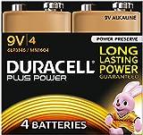 Duracell Plus Power Type 9V Alkaline Batteries, Pack of 4