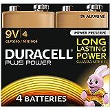 Duracell Plus Power Piles Alcalines type 9V, Lot de 4