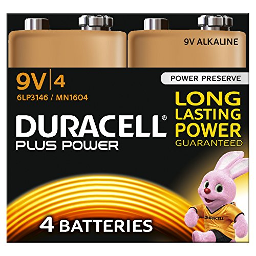 9v Duracell Batterien (Duracell Plus Power Typ 9V Alkaline Batterien, 4er Pack)
