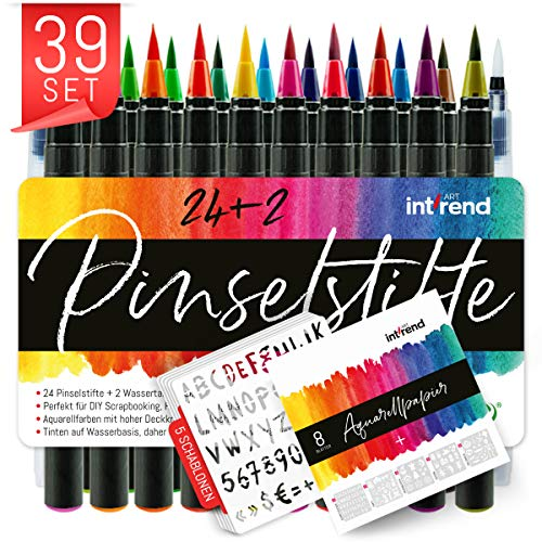 int!rend Pinselstifte 39er Set I 24 Aquarell Farben, 2 Wassertankpinsel, 8 Aquarellpapier, 5 Schablonen, Brush Pen, Stifte mit flexibler Echtpinselspitze, Bullet Journal, Kalligraphie, Hand-Lettering