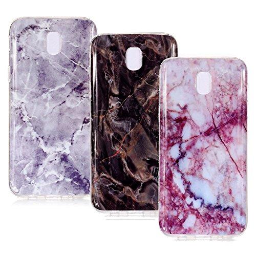 BestCatgift Cases Galaxy J5 Pro (7) Marmor TPU Hülle Cover [3-Pack][Anti-Shock][Anti-Scratch] für Samsung J5 Pro SM-J530 2017 - Purple,Brown,Hot Pink
