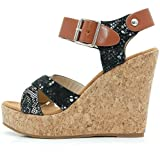 SAlin Shoes© Keilabsatz High Heels Riemchen Sandalen Wedges (40, Schwarz)