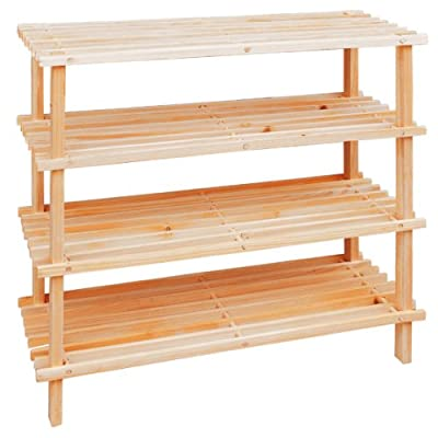 Premier Housewares 4 Tier Slatted Wooden Shoe Rack - 68 x 74 x 26 cm - low-cost UK wordrobe store.
