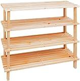 Premier Housewares 4-Tier Slatted Wooden Shoe Rack - Beige